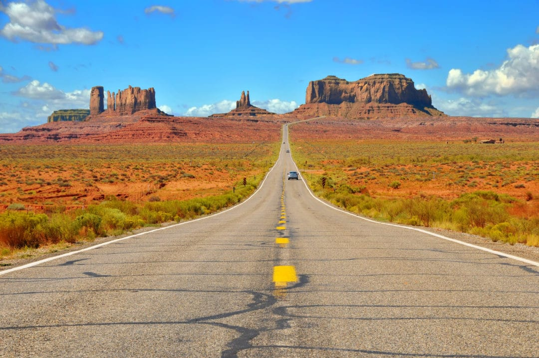 Highway 163 approaching Monument Valley on the border of Arizona and Utah.